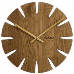 Dubové hodiny VLAHA VCT1013 vyrobené v Čechách se zlatými ručičkami