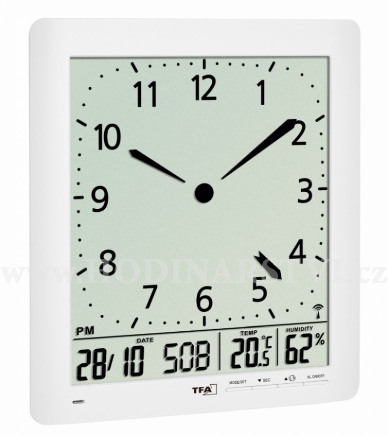 Nástěnné DCF hodiny TFA 60.4515.02 s teploměrem a vlhkoměrem ... 19fab0dfe2