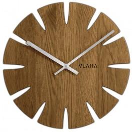 Dubové hodiny VLAHA VCT1014 vyrobené v Čechách se stříbrnými ručičkami