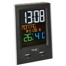 Budík s ukazatelem vnitřní teploty a vlhkosti s USB výstupem pro dobíjení mobilních zařízení TFA 60.2537.01