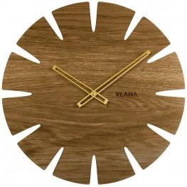Dubové hodiny VLAHA VCT1030 vyrobené v Čechách se zlatými ručičkami