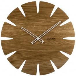 Dubové hodiny VLAHA VCT1031 vyrobené v Čechách se stříbrnými ručičkami