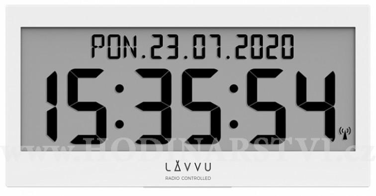Bílé digitální hodiny s češtinou LAVVU MODIG řízené rádiovým signálem LCX0010