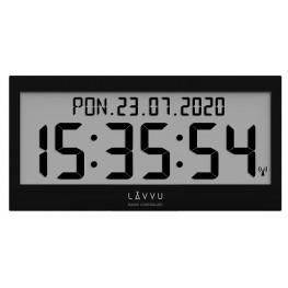 Černé digitální hodiny s češtinou LAVVU MODIG řízené rádiovým signálem LCX0011
