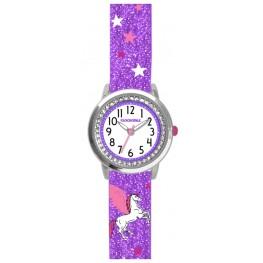 Fialové třpytivé dívčí hodinky s jednorožcem a kamínky CLOCKODILE UNICORN CWG5102