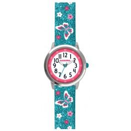 Motýlí tyrkysové dívčí hodinky CLOCKODILE BUTTERFLIES CWG5040