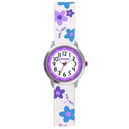 Květované bílo-fialové dívčí hodinky CLOCKODILE FLOWERS CWG5024