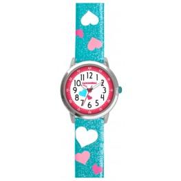 Tyrkysové třpytivé dívčí hodinky se srdíčky CLOCKODILE HEARTS CWG5063