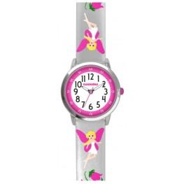 Stříbrné třpytivé dívčí hodinky s růžovými vílami CLOCKODILE FAIRIES CWG5080