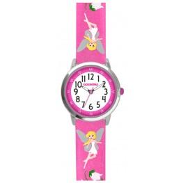 Růžové třpytivé dívčí hodinky s vílami CLOCKODILE FAIRIES CWG5081