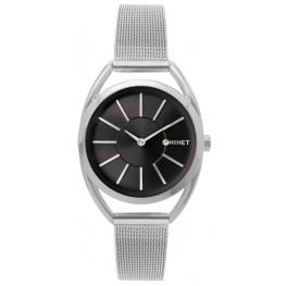Stříbrno-černé dámské hodinky MINET ICON SILVER BLACK MESH MWL5017