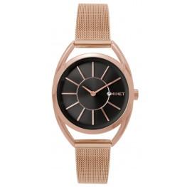 Růžovo-černé dámské hodinky MINET ICON ROSE GOLD BLACK MESH MWL5018
