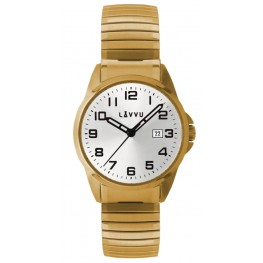 Pánské pružné hodinky LAVVU LWM0025 STOCKHOLM Big Gold