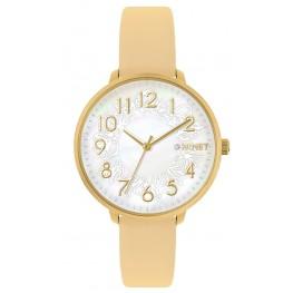 Béžové dámské hodinky MINET PRAGUE Beige Flower MWL5135