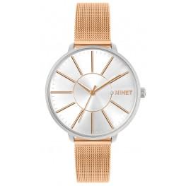 Rose gold dámské hodinky MINET PRAGUE Rose Gold Bicolor MESH MWL5139
