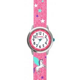 Růžové třpytivé dívčí hodinky s jednorožcem CLOCKODILE UNICORN CWG5110