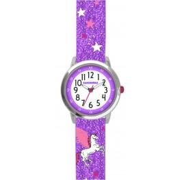 Fialové třpytivé dívčí hodinky s jednorožcem CLOCKODILE UNICORN CWG5112