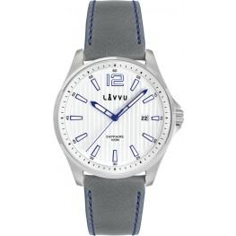 Pánské hodinky se safírovým sklem LAVVU LWM0163 NORDKAPP White / Top Grain Leather