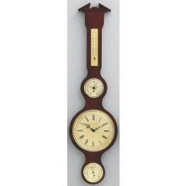 Barometr s teploměrem vlhkoměrem  a hodinami na dřevěné podložce B204983