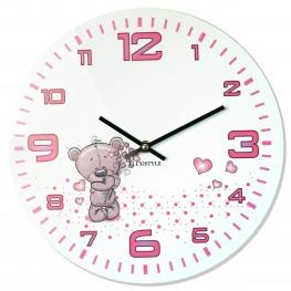 Flexistyle z91a - dětské skleněné hodiny s medvídkem
