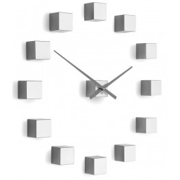 Designové nástěnné nalepovací hodiny Future Time FT3000SI Cubic silver